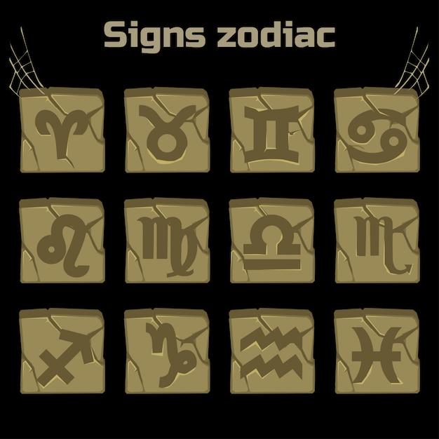Znaki Zodiaku I Zestaw Odznak Na Starym Kamieniu Premium Wektorów