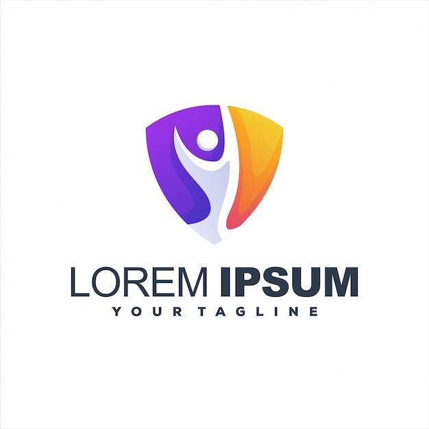 Znakomici Ludzie Chronią Logo Premium Wektorów