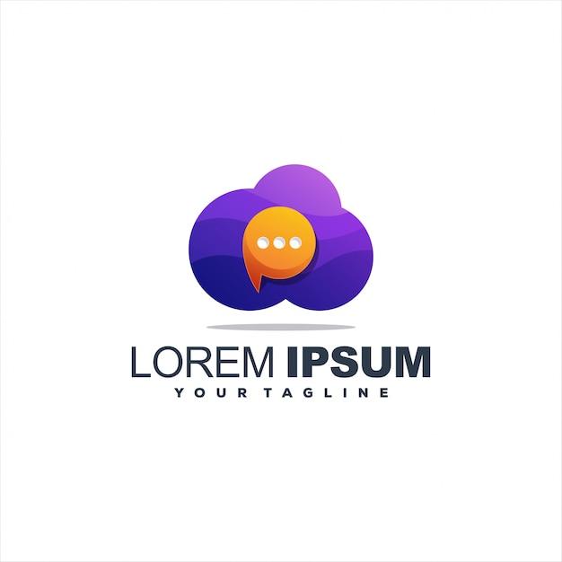 Znakomite logo chmury czatu Premium Wektorów