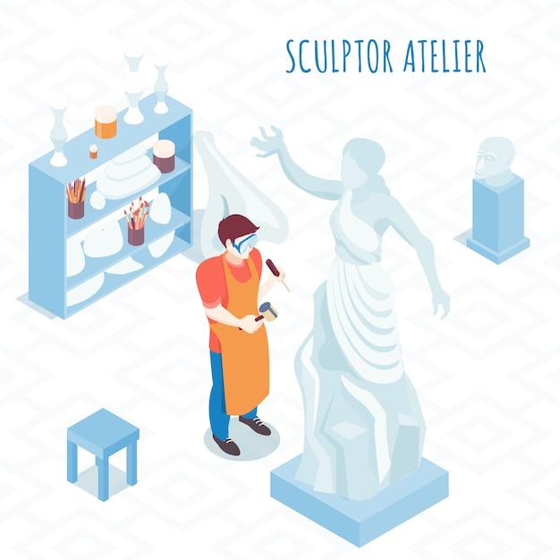 Znakomity Artysta W Pracy Izometryczny Skład Z Rzeźbiarzem Rzeźba Postury Kamienia Z Ilustracją Młotek I Dłuta Darmowych Wektorów