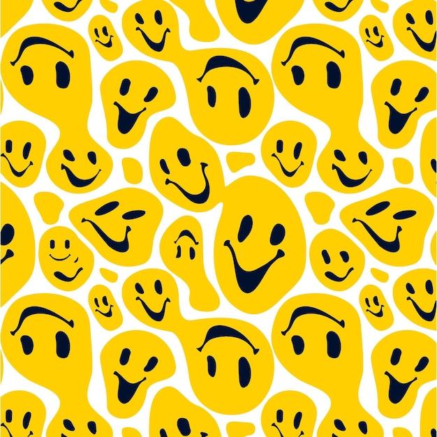 Zniekształcony Wzór Emotikonów Uśmiech Premium Wektorów
