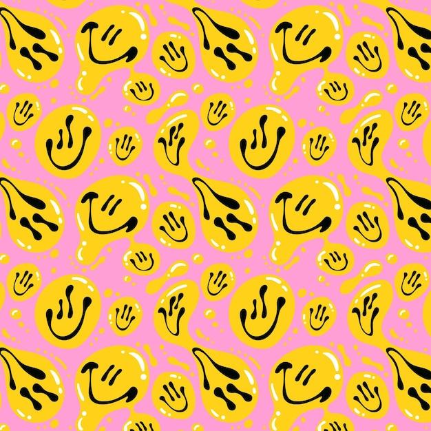 Zniekształcony Wzór Emotikonów Uśmiech Darmowych Wektorów