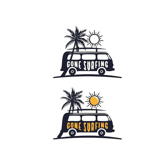 Zniknęło Hasło Surfingowe Na Samochodach Dostawczych Na Plaży Premium Wektorów