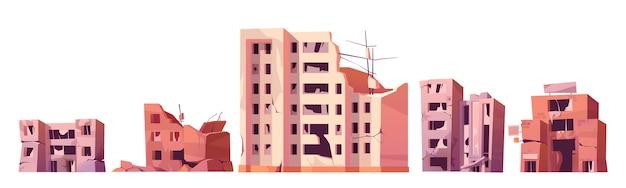 Zniszczone Budynki Miejskie Po Wojnie Lub Trzęsieniu Ziemi. Darmowych Wektorów