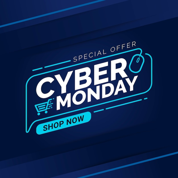 Zniżka Na Szablon Transparent Sprzedaży W Cyber Poniedziałek Premium Wektorów