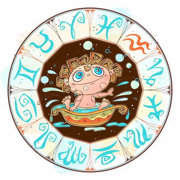 Zodiak Dla Dzieci Premium Wektorów