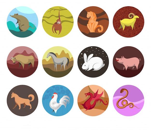 Zodiak ustaw ikony zwierząt zodiaku dla horoskopu. Premium Wektorów