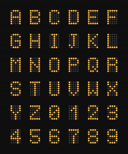 Żółci Elektroniczni Kapitałowi Listy Abecadło Na Czarnym Lotnisku Wsiadają Realistycznego Skład I Liczby Ilustracyjnych Darmowych Wektorów