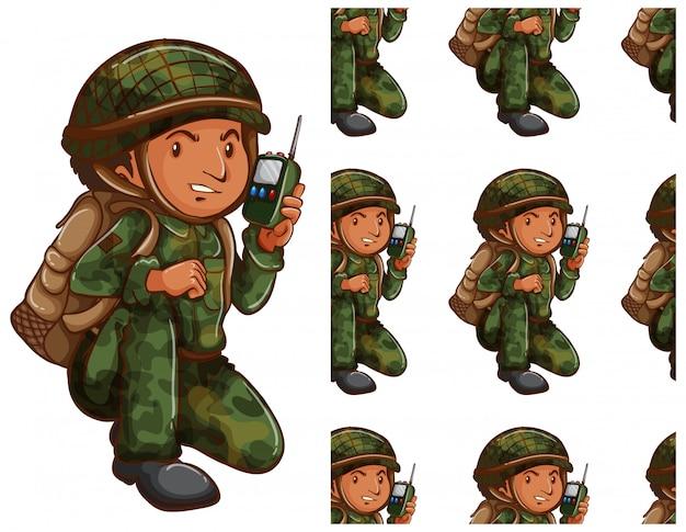 Żołnierz wzór na białym tle Darmowych Wektorów