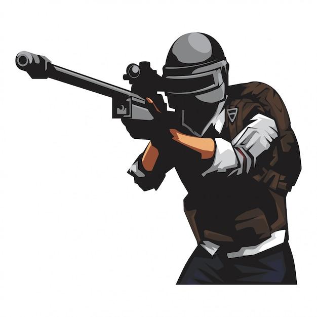 Żołnierz z pistoletem snajperskim Premium Wektorów