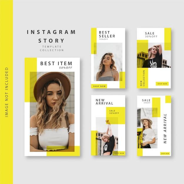 Żółta historia na instagramie Premium Wektorów