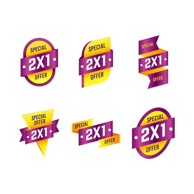 Żółta I Fioletowa Kolekcja Etykiet Specjalnych 2x1 Darmowych Wektorów