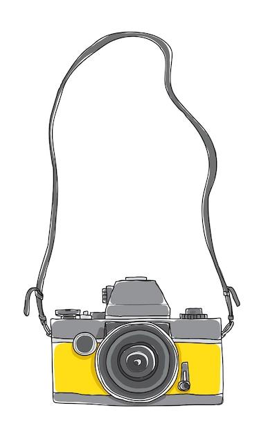 Żółta Kamera Vintage Ręcznie Rysowane Wektor Premium Wektorów