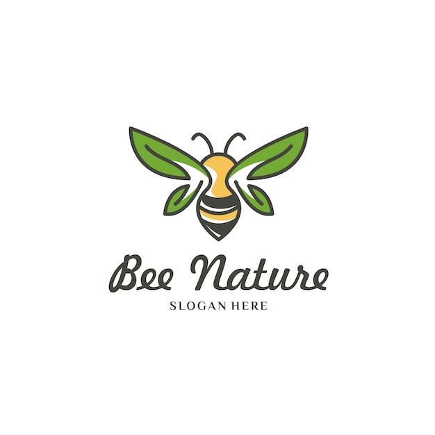 Żółta Pszczoła Na Białym Logo Premium Wektorów