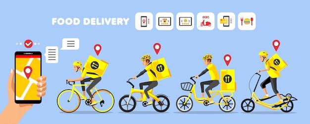 Żółta Rowerowa Dostawa żywności Z Ikonami Zamówień Online Premium Wektorów