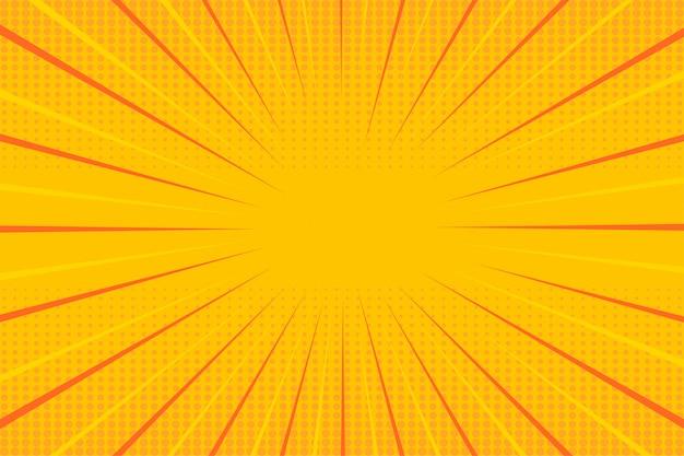 Żółta tapeta półtonów pop-artu Premium Wektorów
