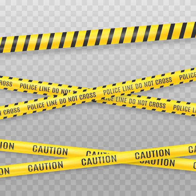 Żółta Taśma Policyjna Na Przezroczystym Tle. Miejsce Przestępstwa Taśmy Wektoru Ilustracja Premium Wektorów