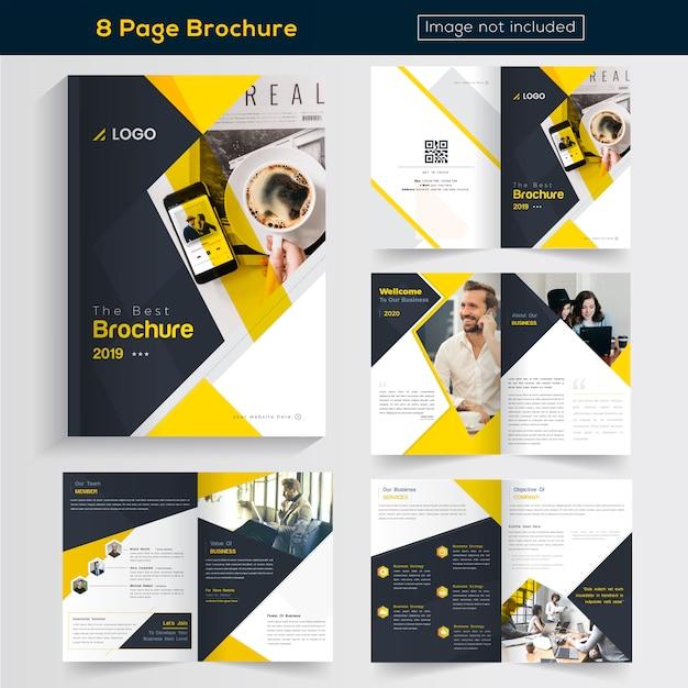 Żółte 8 stron business brochure design Premium Wektorów
