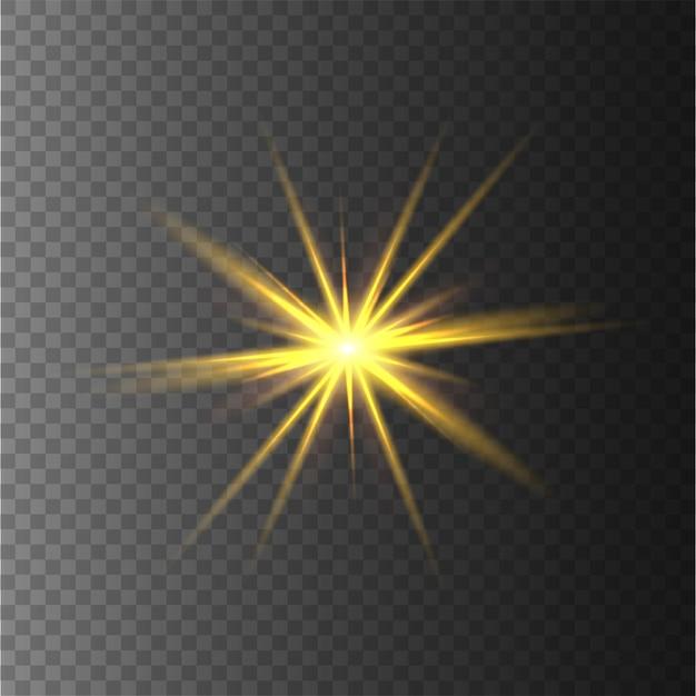 Żółte Gwiazdy, światło, Refleksy, Brokat, Błysk Słoneczny. Premium Wektorów