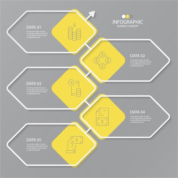 Żółte I Szare Kolory Infografiki Z Ikonami Cienkich Linii. 5 Opcji Lub Kroków Premium Wektorów