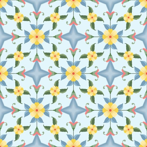 Żółte kwiaty z wzór geometryczny wzór. Premium Wektorów