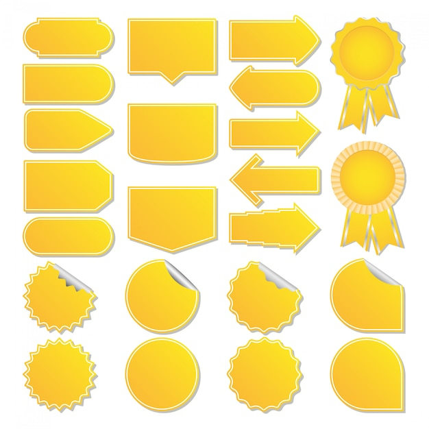 Żółte metki Premium Wektorów