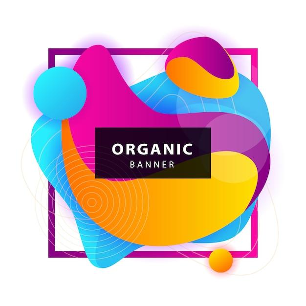 Żółte, Niebieskie, Fioletowe Abstrakcyjne Formy Organiczne Z Ramą Darmowych Wektorów