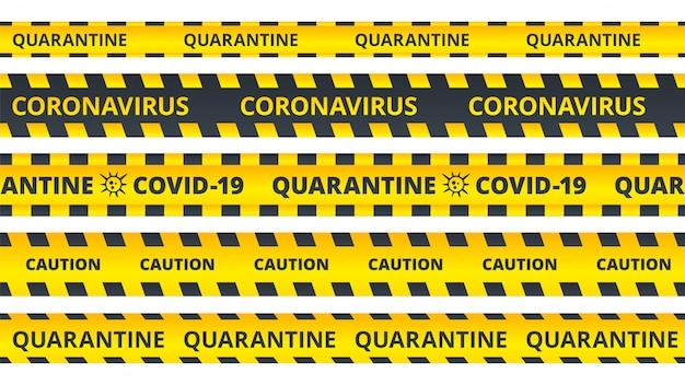 Żółte Paski Ostrzegawcze. Zestaw Wstążek Ostrzegawczych Do Kwarantanny Lub Koronawirusa Covid19 Premium Wektorów