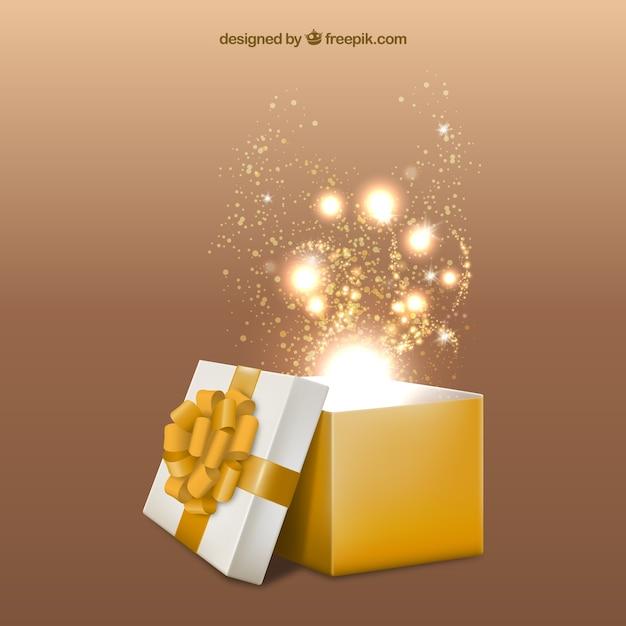 Żółte pudełko upominkowe otwarty Darmowych Wektorów