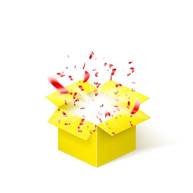 Żółte Pudełko Z Czerwonym Konfetti. Pudełko Niespodzianka Na Białym Tle Premium Wektorów