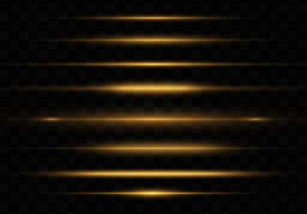 Żółte świecące światło, Pakiet Odblasków Poziomych Obiektywów Premium Wektorów