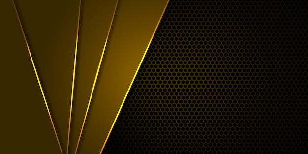 Żółte tło z sześciokątnego włókna węglowego z żółtymi jasnymi liniami i pasemkami. Premium Wektorów