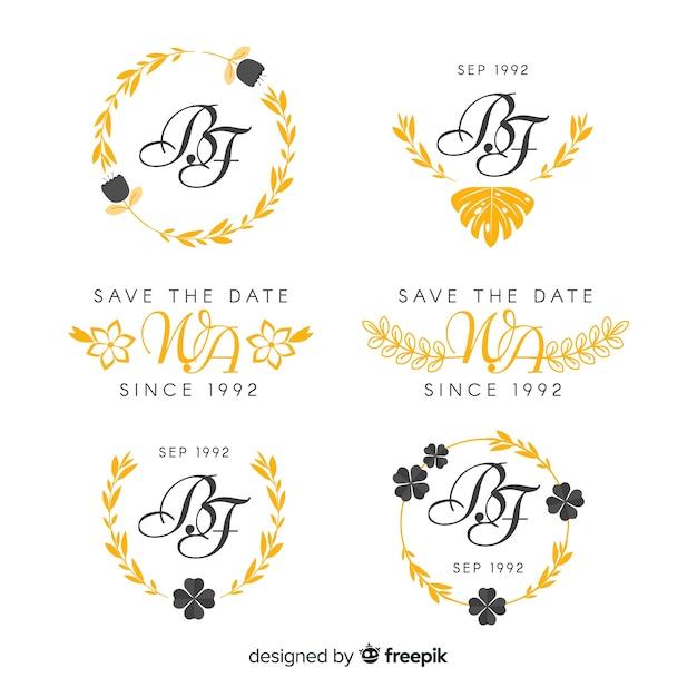 Żółte wesele logo monogram Darmowych Wektorów