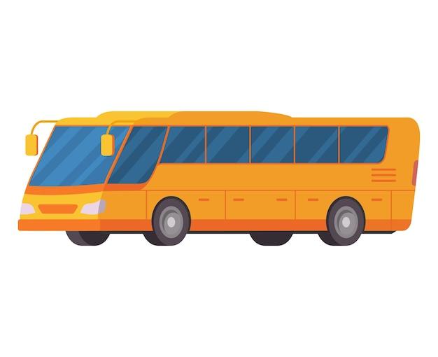 Żółty Autobus Miejski Transport Publiczny Autobus Turystyczny Premium Wektorów