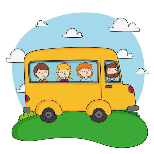 Żółty Autobus Szkolny I Dzieci Premium Wektorów