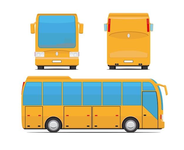 Żółty Autobus Z Tyłu, Z Przodu Iz Boku. Autokar I Podróże, Wycieczki I Transport. Ilustracji Wektorowych Premium Wektorów