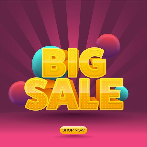 Żółty Duży Tekst Sprzedaży Z Kulkami 3d Na Różowym Tle Promieni. Premium Wektorów