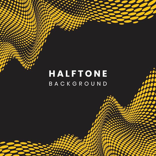 Żółty i czarny falisty halftone tło Darmowych Wektorów