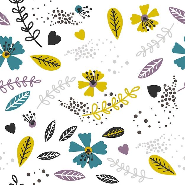 Żółty I Lawendowy Kwiatowy Wzór Premium Wektorów