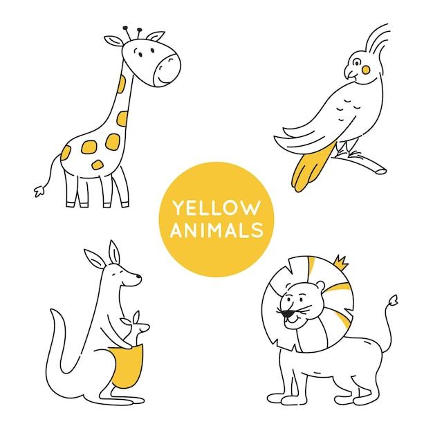 Żółty Kontur Zwierząt Na Białym Tle. Premium Wektorów