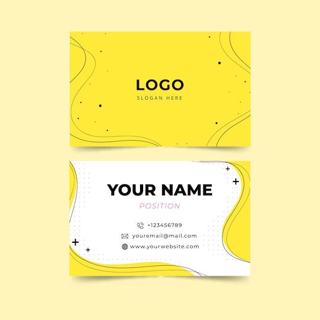 Żółty minimalistyczny szablon wizytówki Darmowych Wektorów