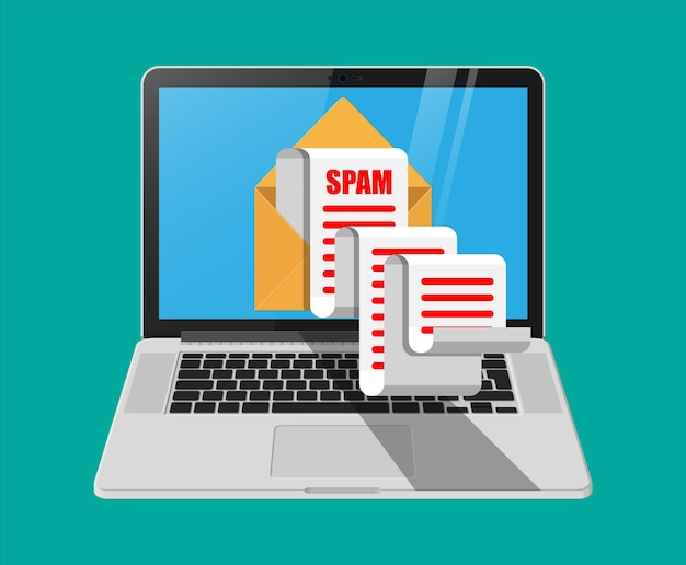 Żółty Papier Rozwija Się I Spamuje Na Ekranie Laptopa. Długie E-maile. Hakowanie Skrzynek E-mail, Ostrzeżenie Przed Spamem, Wirusy I Złośliwe Oprogramowanie, Bezpieczeństwo Sieci. Premium Wektorów