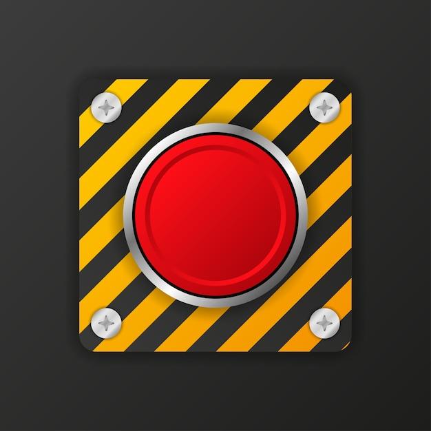 Żółty Przycisk Alarmowy Na Czerwonym Tle. Premium Wektorów