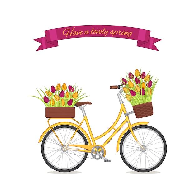 Żółty retro rower z tulipanowym bukietem w kwiecistym koszu i pudełku na bagażniku. Premium Wektorów