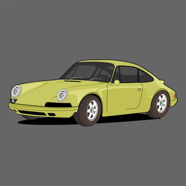Żółty Samochód Sportowy Premium Wektorów