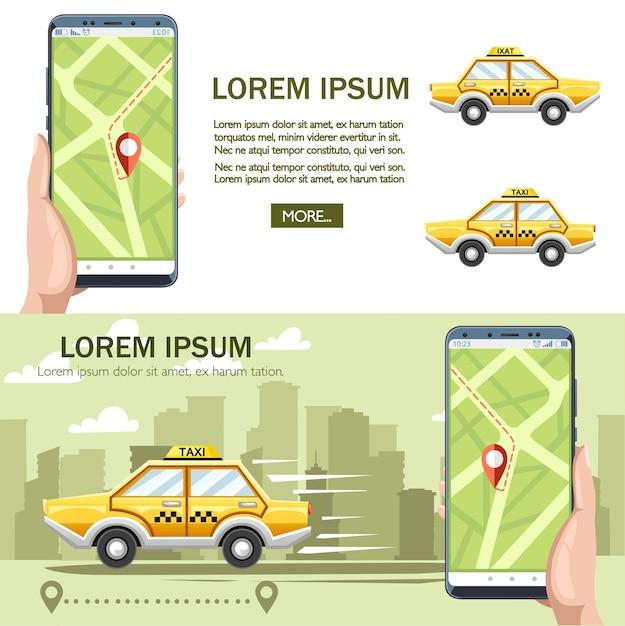 Żółty Samochód Taxi. Koncepcja Usługi Taxi. Premium Wektorów