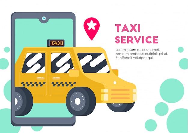 Żółty samochód usługi transportowe taxi wektor Premium Wektorów