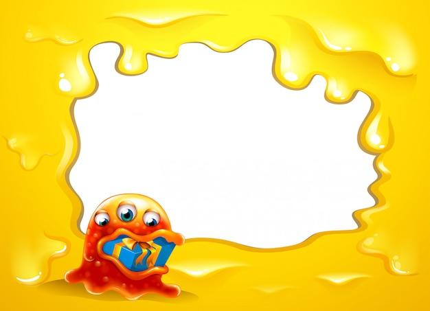Żółty szablon z potworem połykającym prezent Darmowych Wektorów