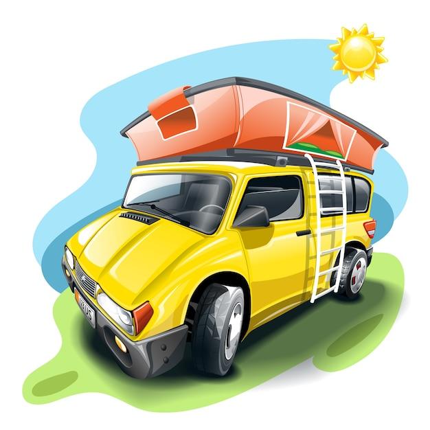 Żółty Van Z Namiotem Na Dachu. Premium Wektorów