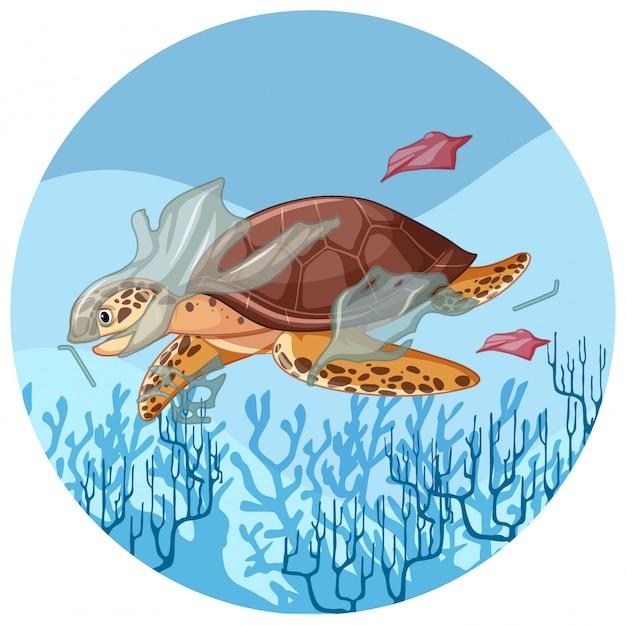 Żółw morski z plastikowymi workami pod wodą Darmowych Wektorów